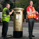 Gold postbox in Albert Square, Manchester