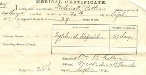 Frederick Cotton Medical Certificate