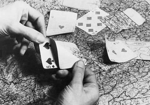 Maps hidden inside playing cards