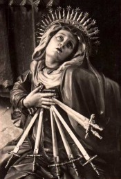 Our Lady of Seven Sorrows in the church of San Miguel in Valladolid, Spain.